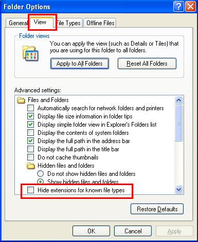 View : Advanced settings : Hide extensions for known file types